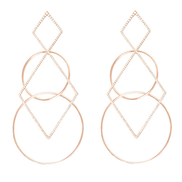 Half Diamond Geometric Earrings