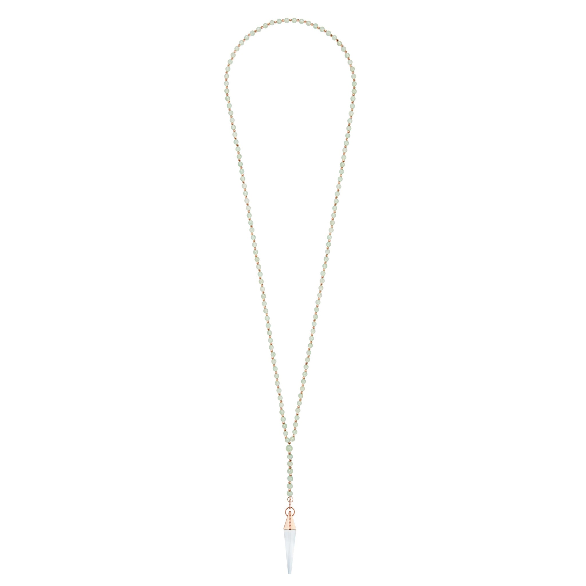 Green Aventurine Crystal Spear Necklace