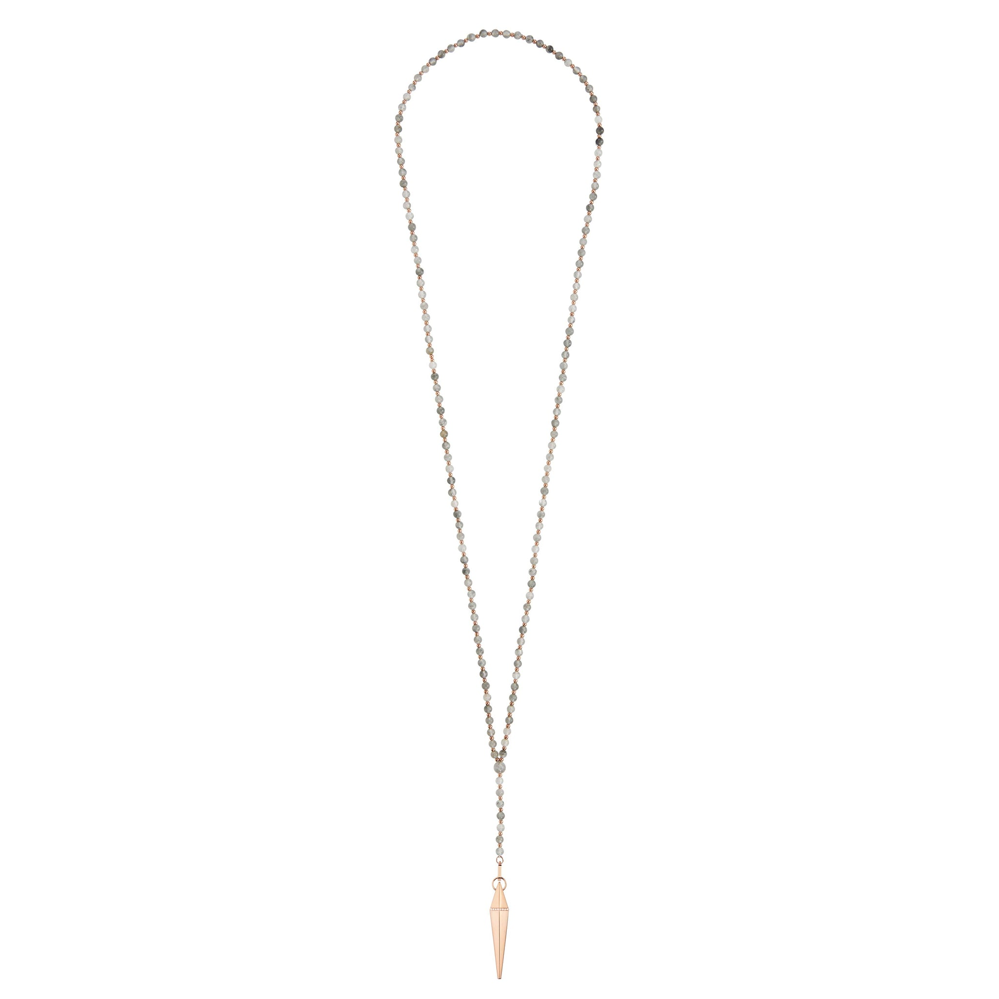 Grey Quartz Spear Necklace