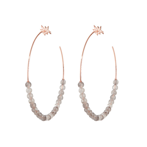 Explosion Grey Quartz Hoop Earrings