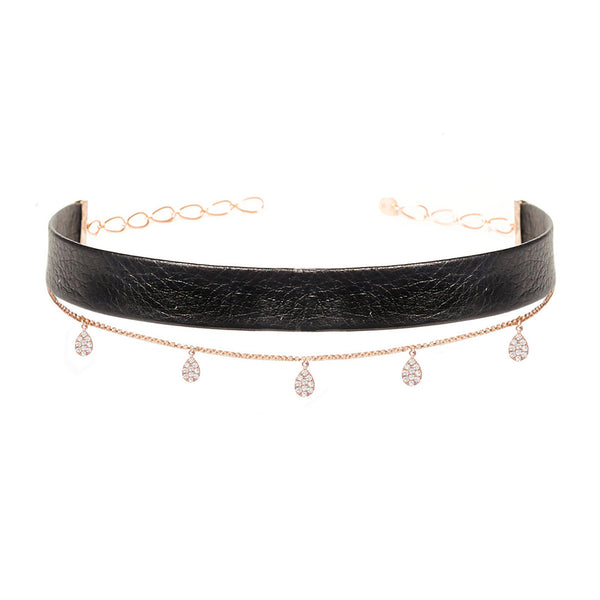 Leather Teardrop Chain Choker