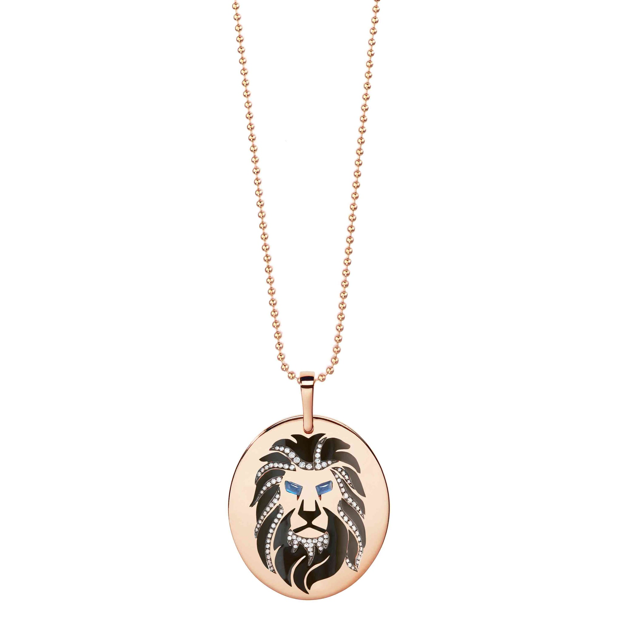 Diane Kordas 18k Gold Lion pendant with sapphires and diamonds