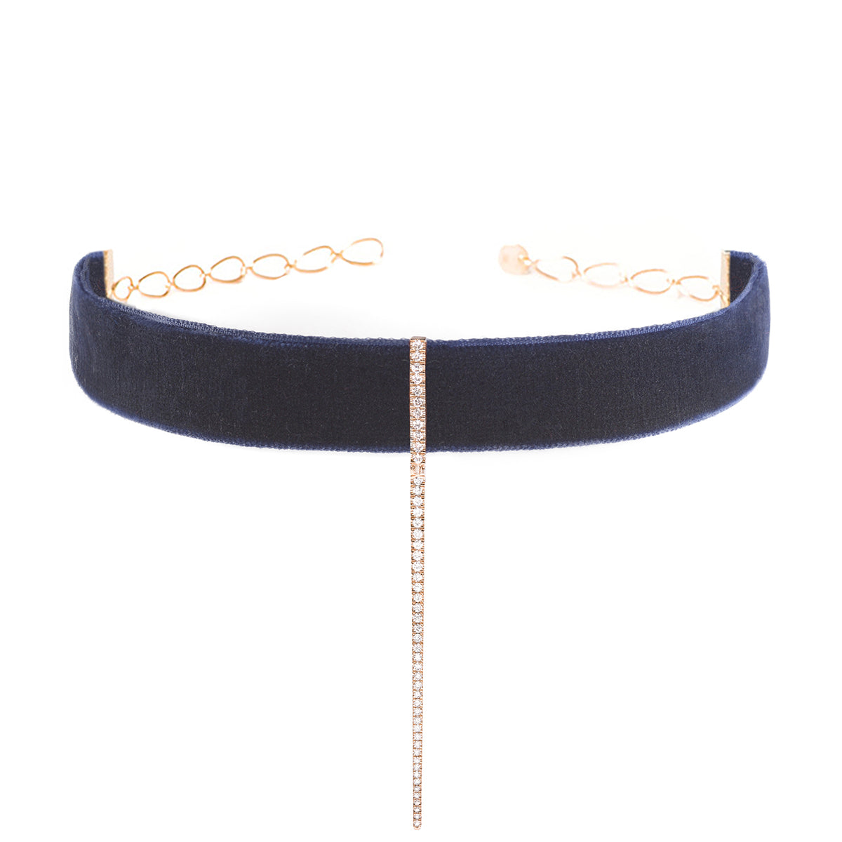 Navy Velvet Bar Choker