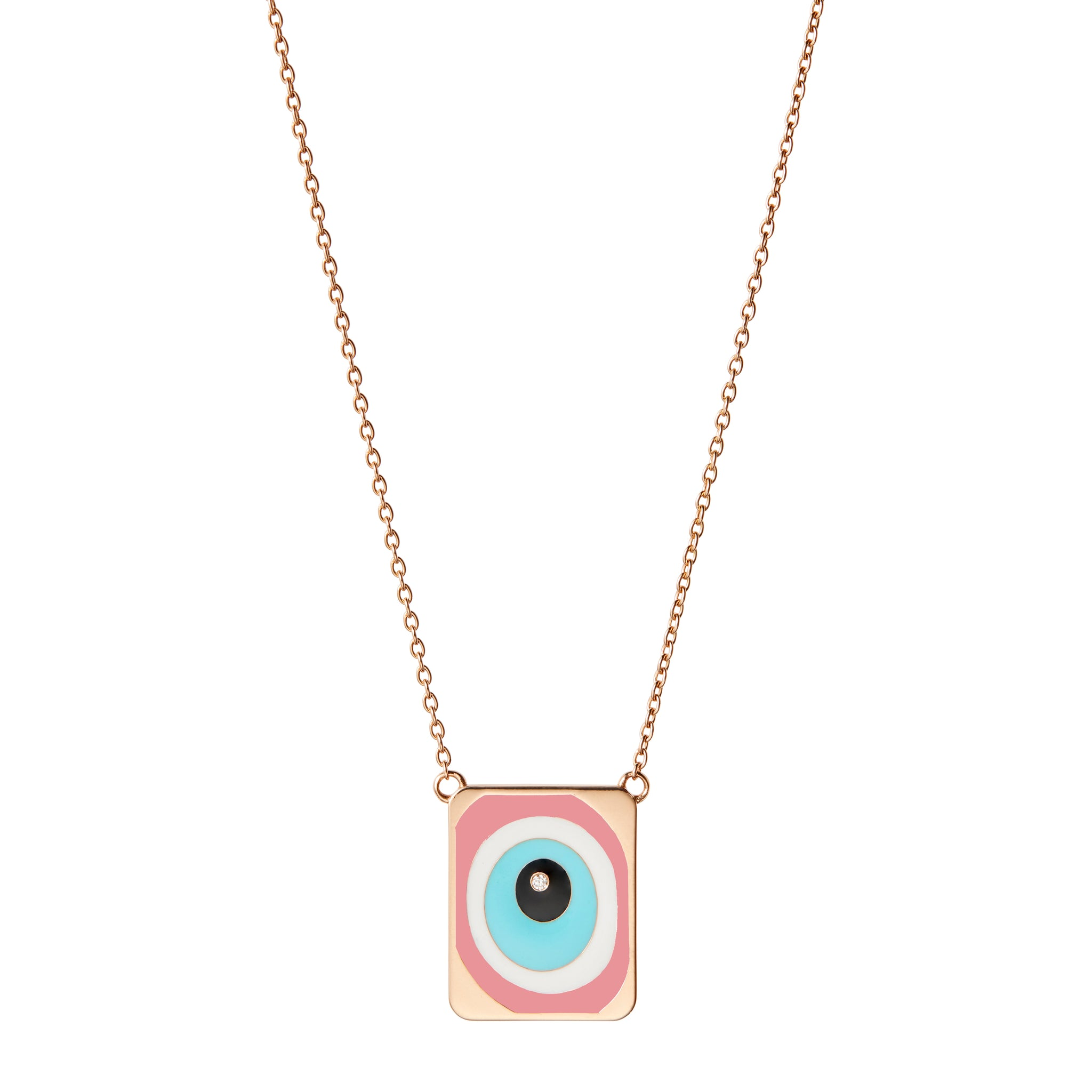 Pink Evil Eye Necklace with Single Diamond