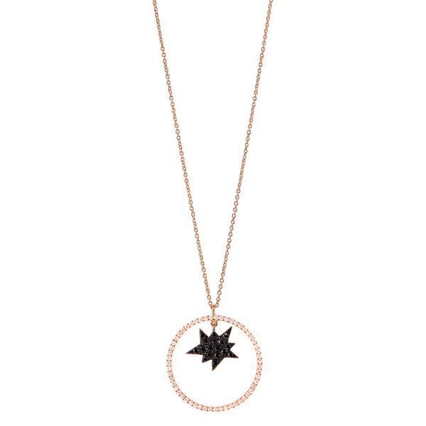 Black Explosion Necklace with Diamond Circle
