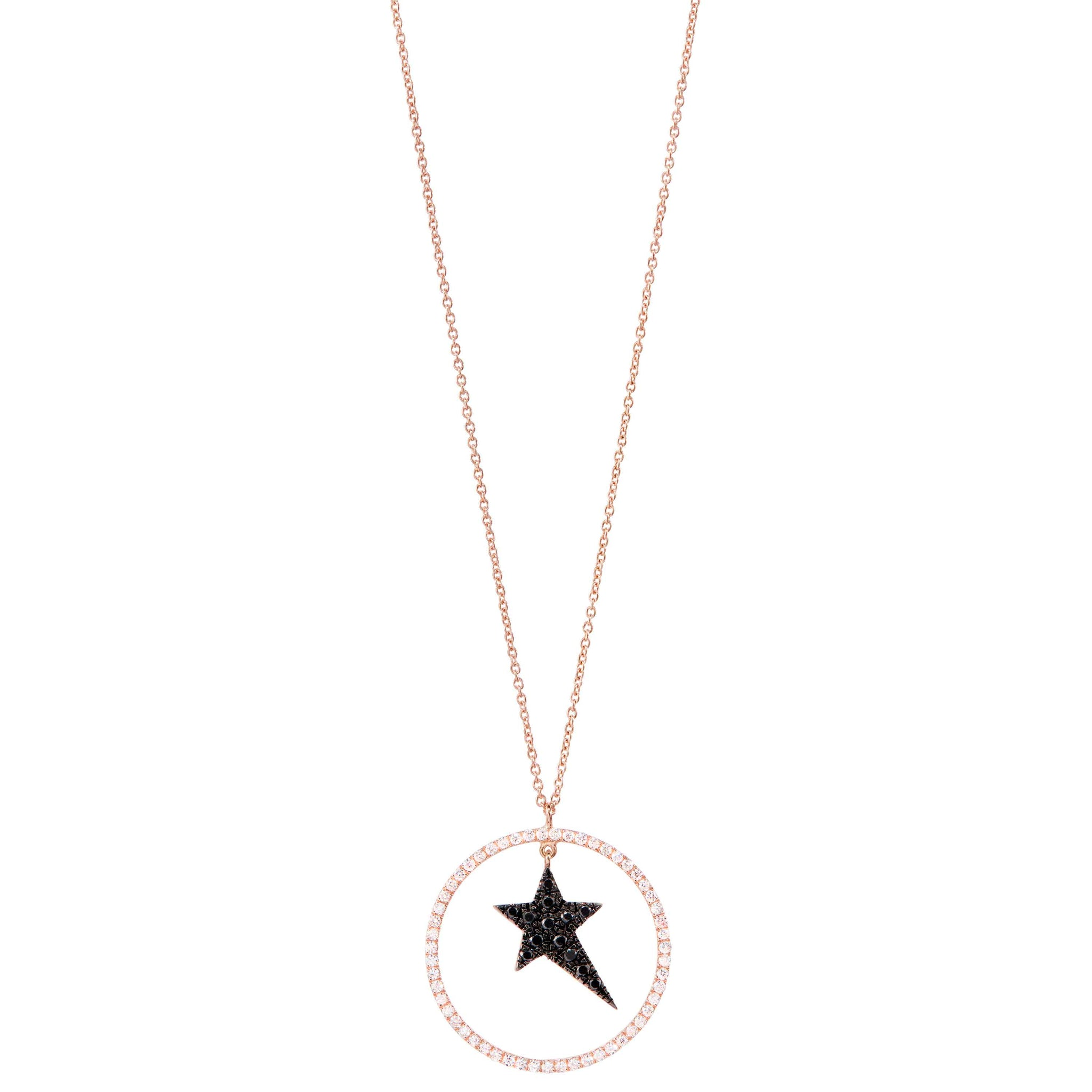 Diane Kordas Black Star Necklace with Diamond Circle