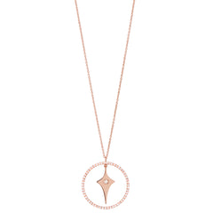 Diane Kordas Gold Shield Necklace with Diamond Circle