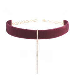 Purple Velvet Bar Choker