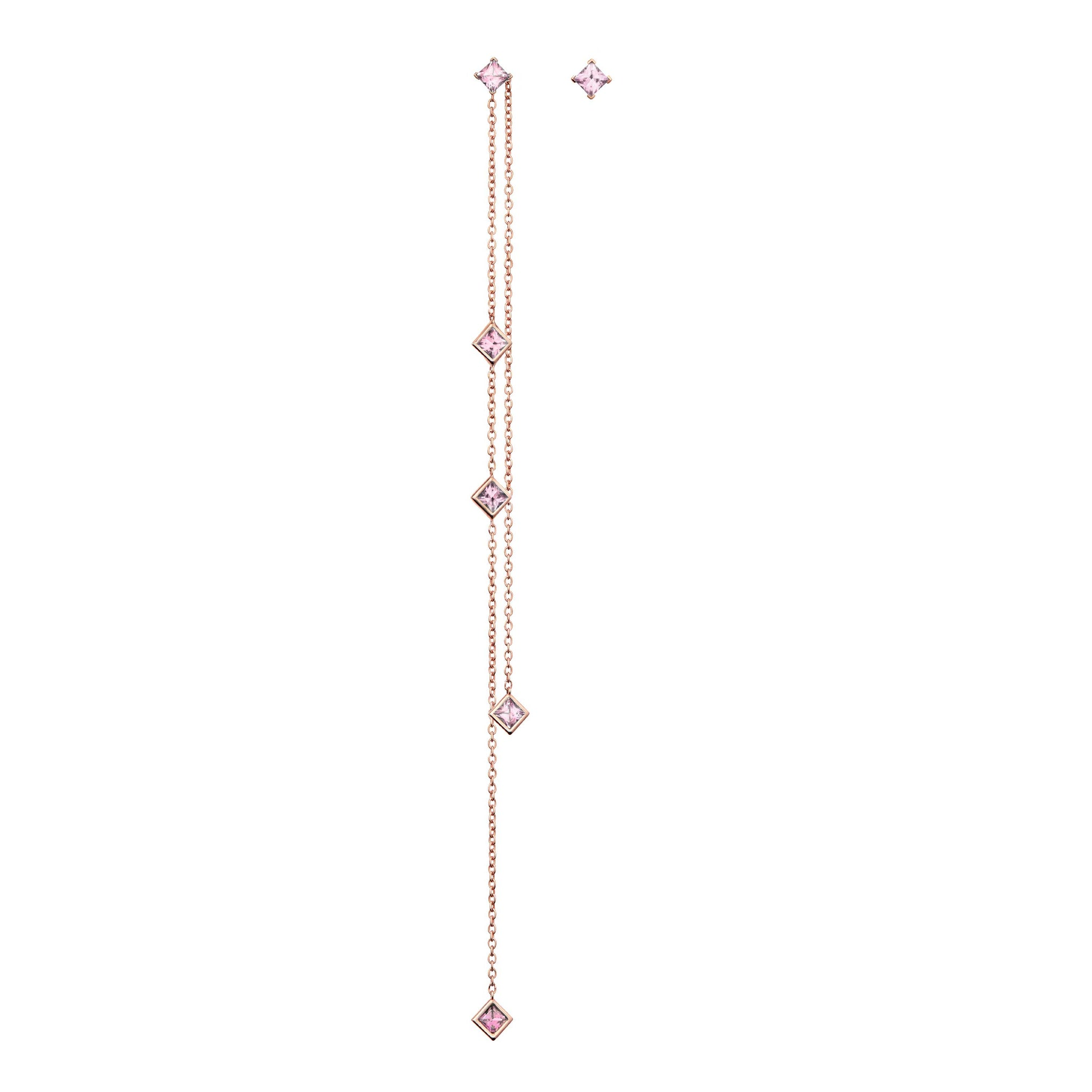 Diane Kordas Asymmetric Square Pink Sapphire Chain Earrings