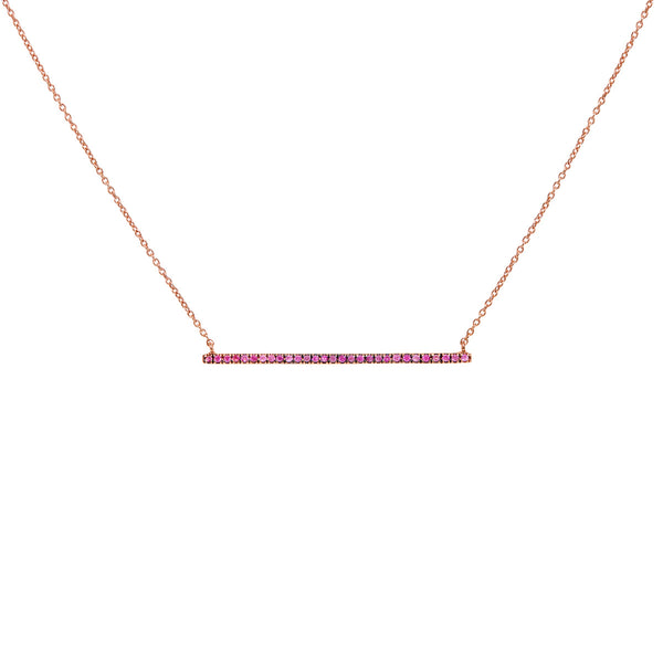 Pink Sapphire Bar Necklace