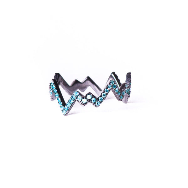 Blue Diamond Pop Art Band Ring