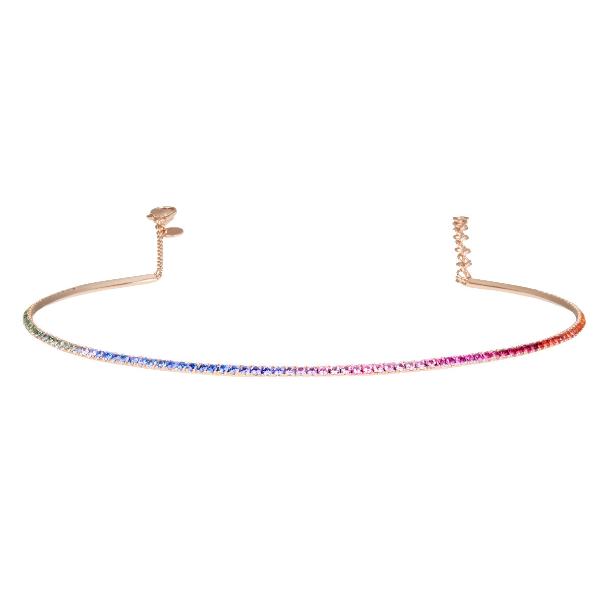 Diane Kordas Rose Gold Rainbow Bar Choker