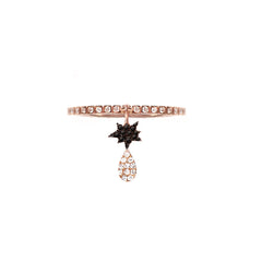 Diane Kordas Jewellery Cosmos Black Double Charm Ring 18kt gold