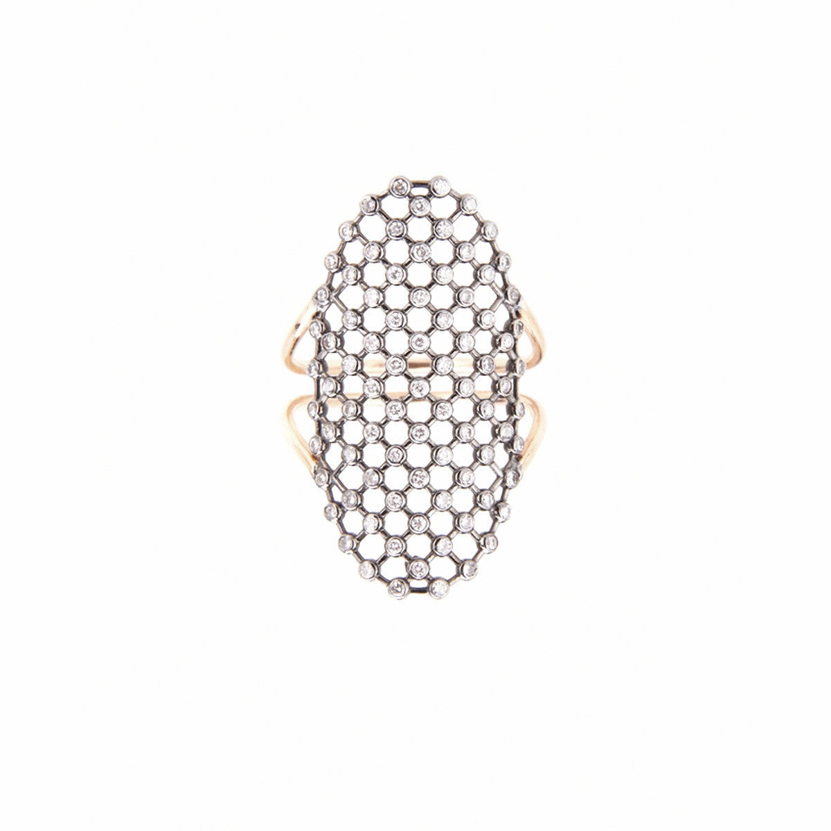 Diane Kordas Jewellery Oval Mesh Ring 18kt gold