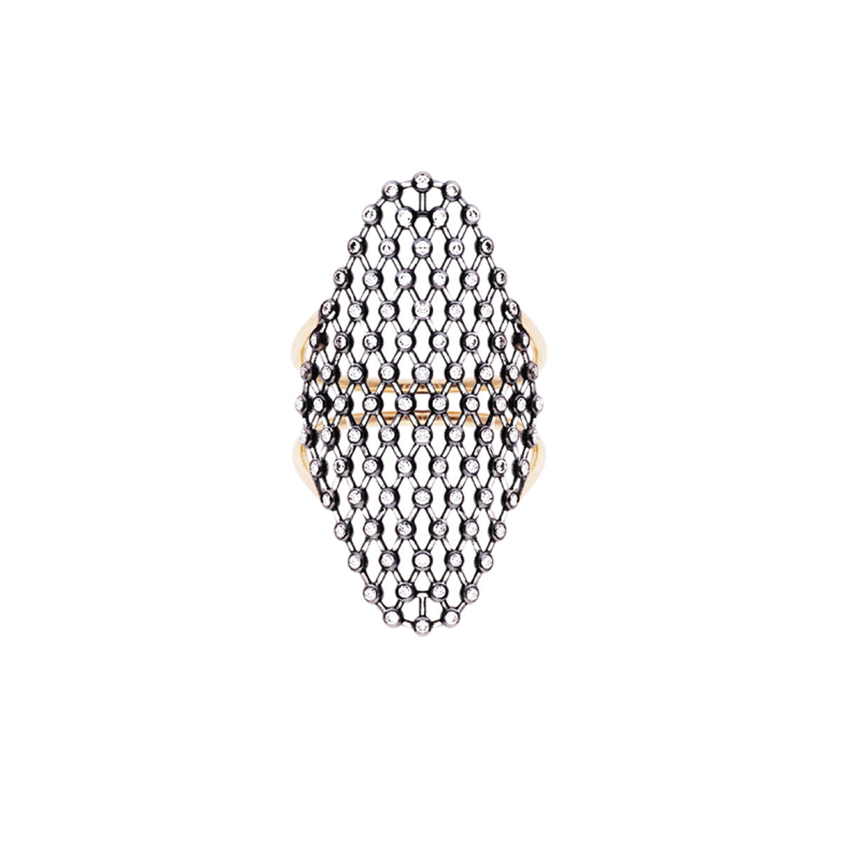 Diane Kordas Jewellery Triangle Mesh Ring 18kt gold