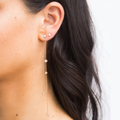 Asymmetric Square Diamond Chain Earrings
