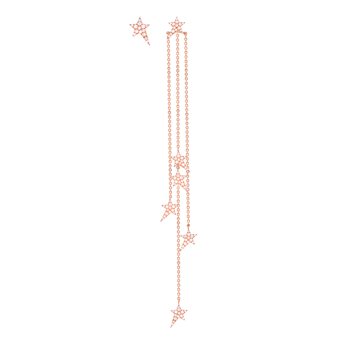 Asymmetric Star Chain Earrings