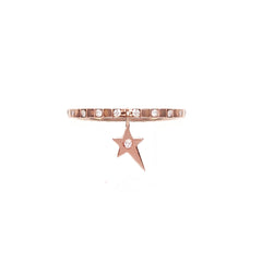 Cosmos Black Diamond Star Charm Ring