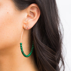 Star Green Malachite Hoop Earrings