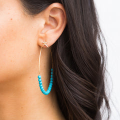 Star Turquoise Hoop Earrings