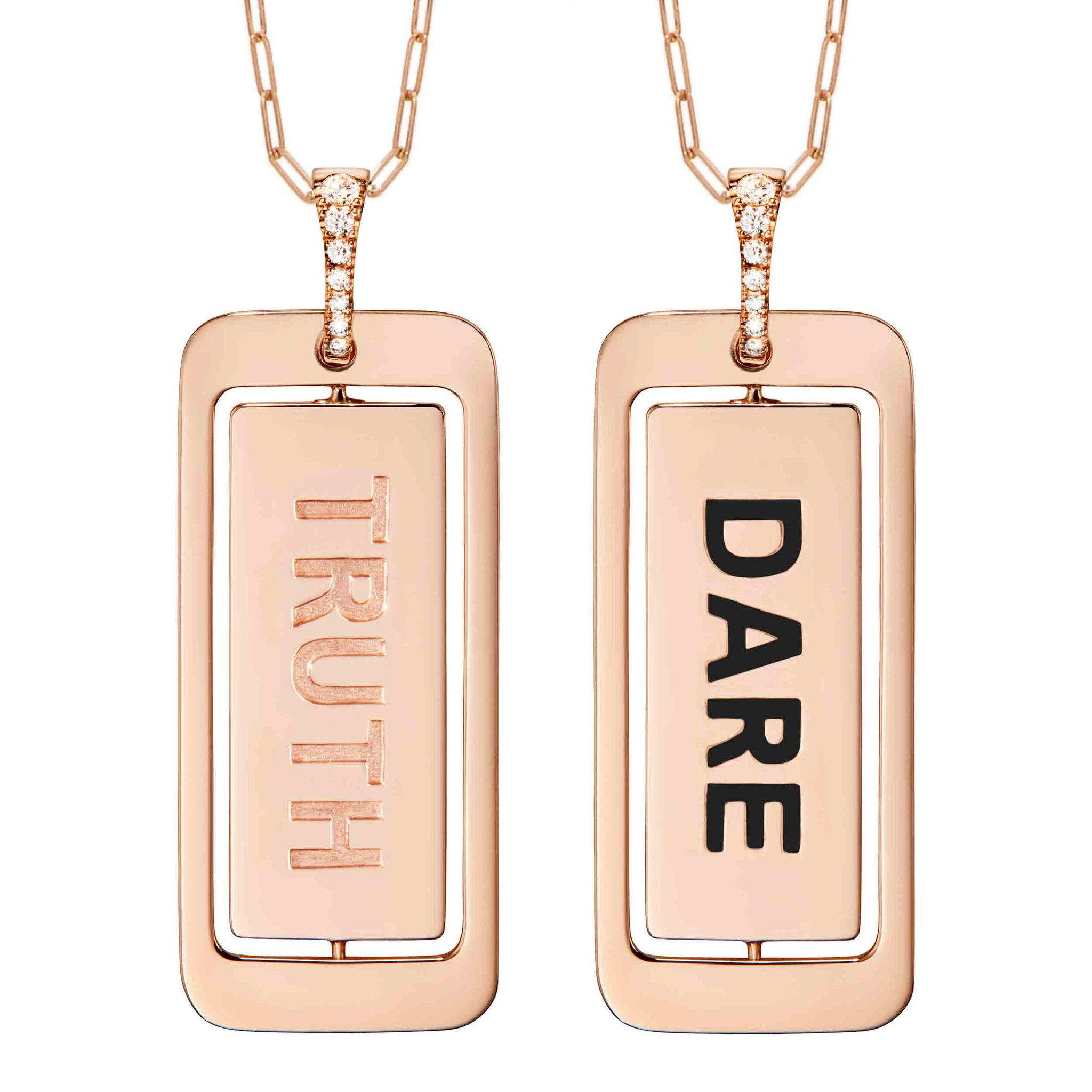 Diane Kordas Truth/Dare 18k Gold ID Tag Pendant