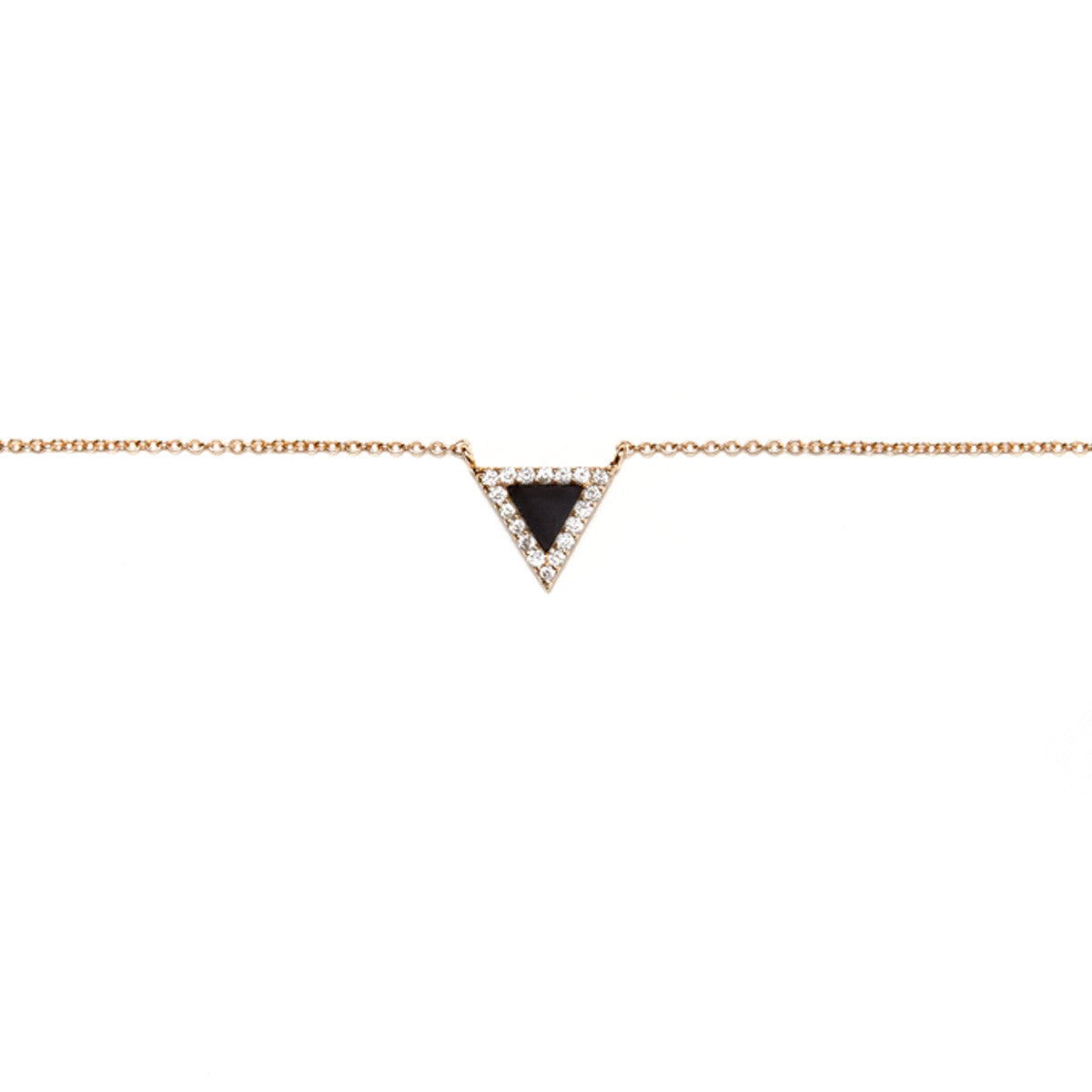 Diane Kordas Jewellery Onyx Triangle Evil Eye Necklace 18kt gold