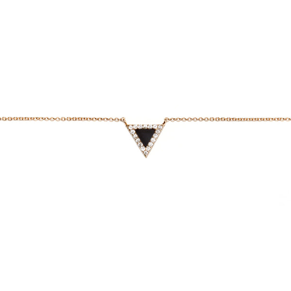 Onyx Triangle Evil Eye Necklace