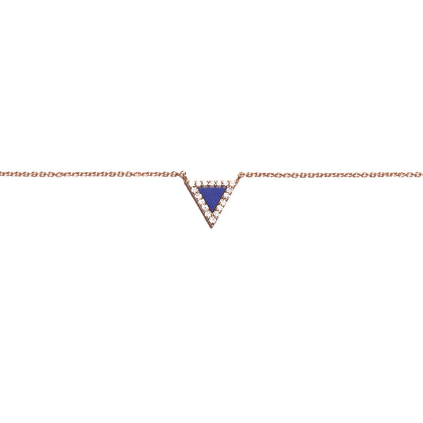 Lapis Triangle Evil Eye Necklace