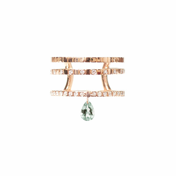 GREEN AMETHYST TRIPLE BAND RING