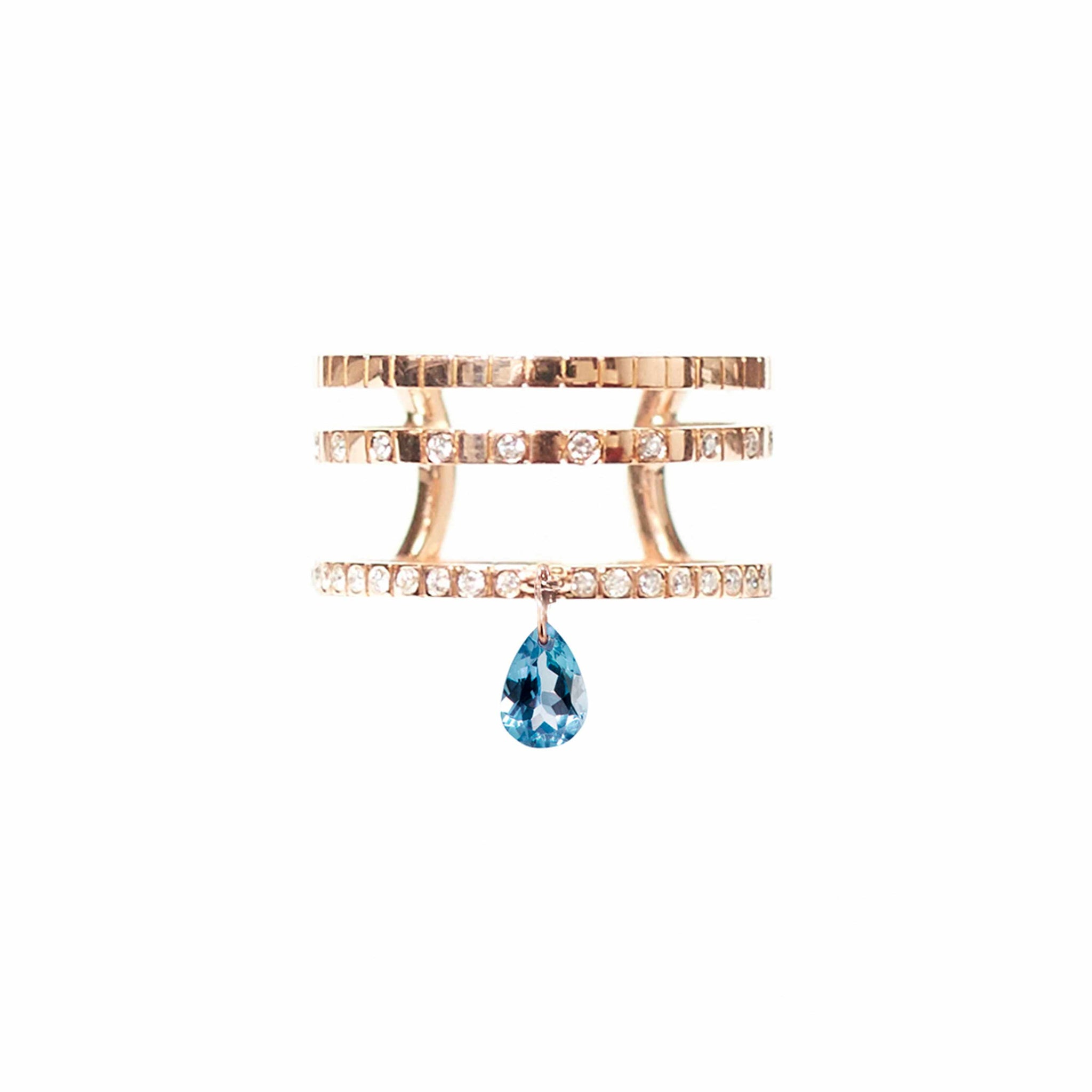 Diane Kordas London Blue Topaz TRIPLE BAND RING