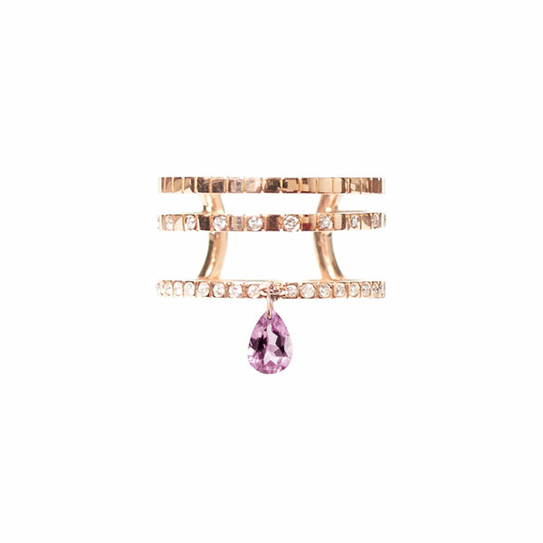Pink Tourmaline TRIPLE BAND RING