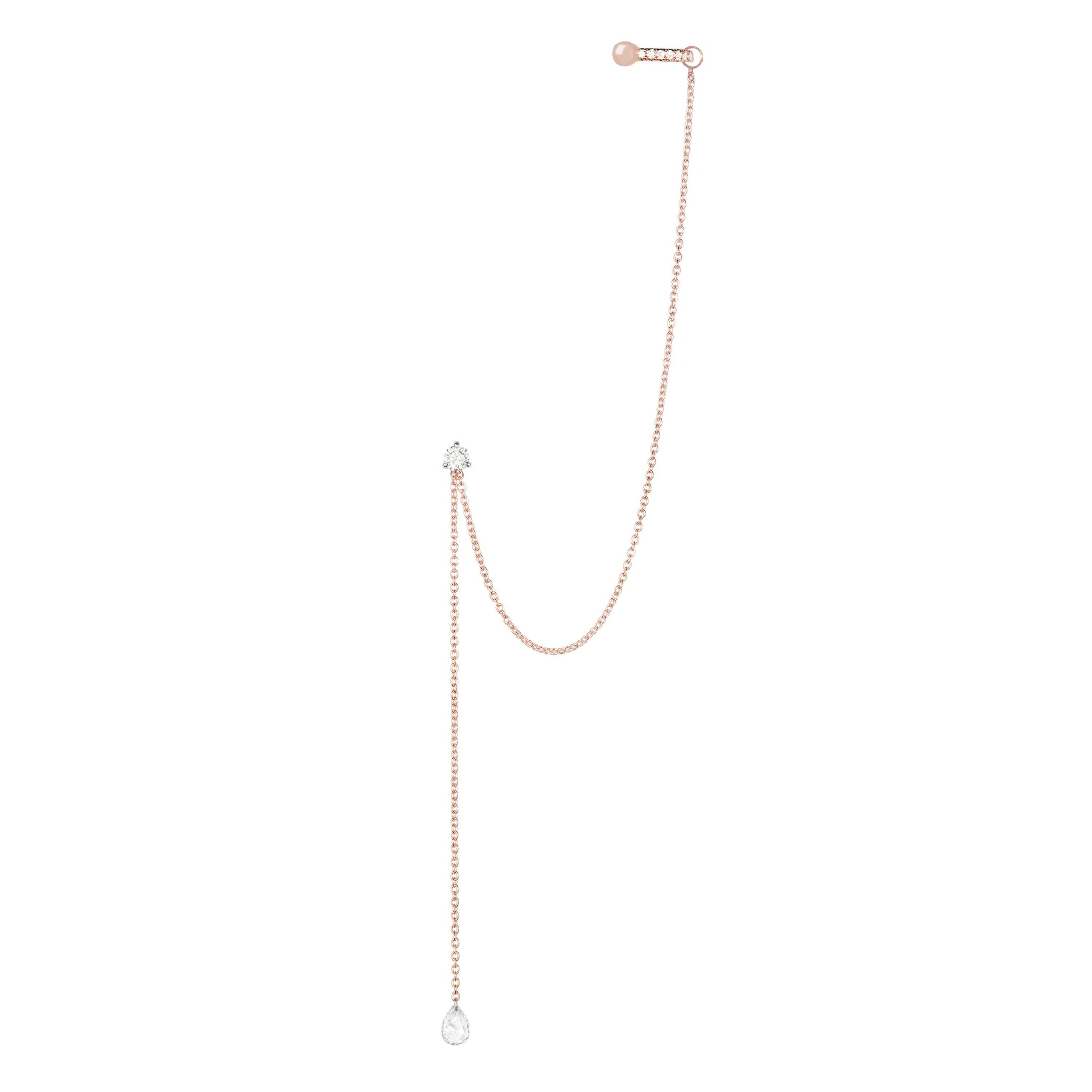Diamond Drape Chain Earring