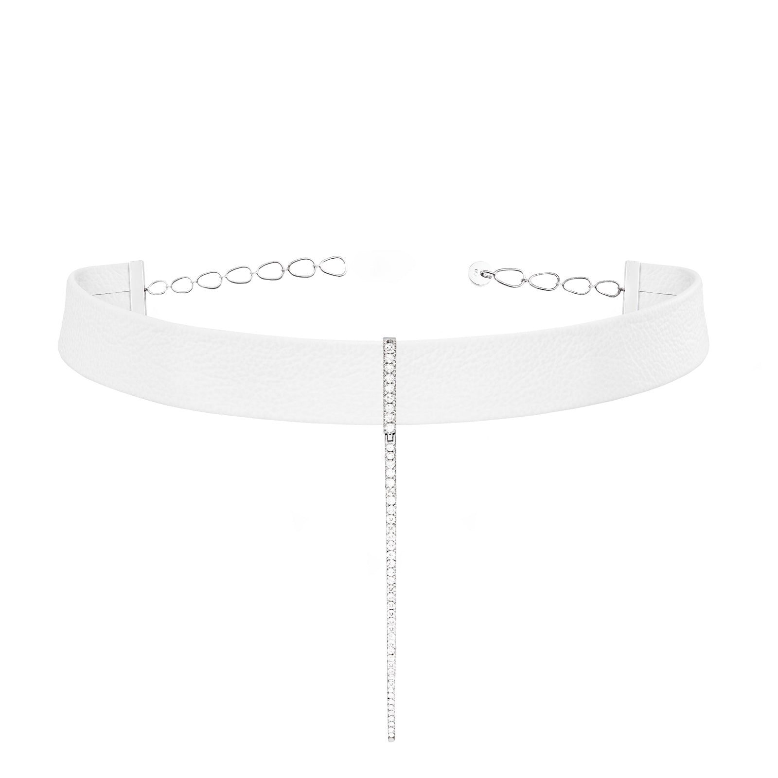 White Leather Bar Choker