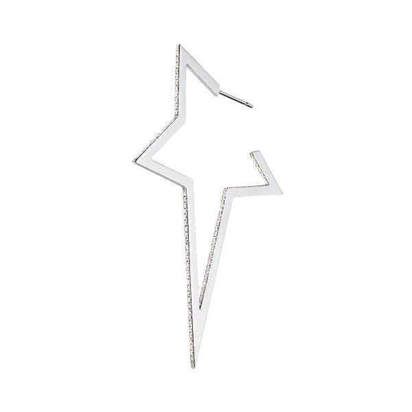 White Gold Diamond Large Star Earring