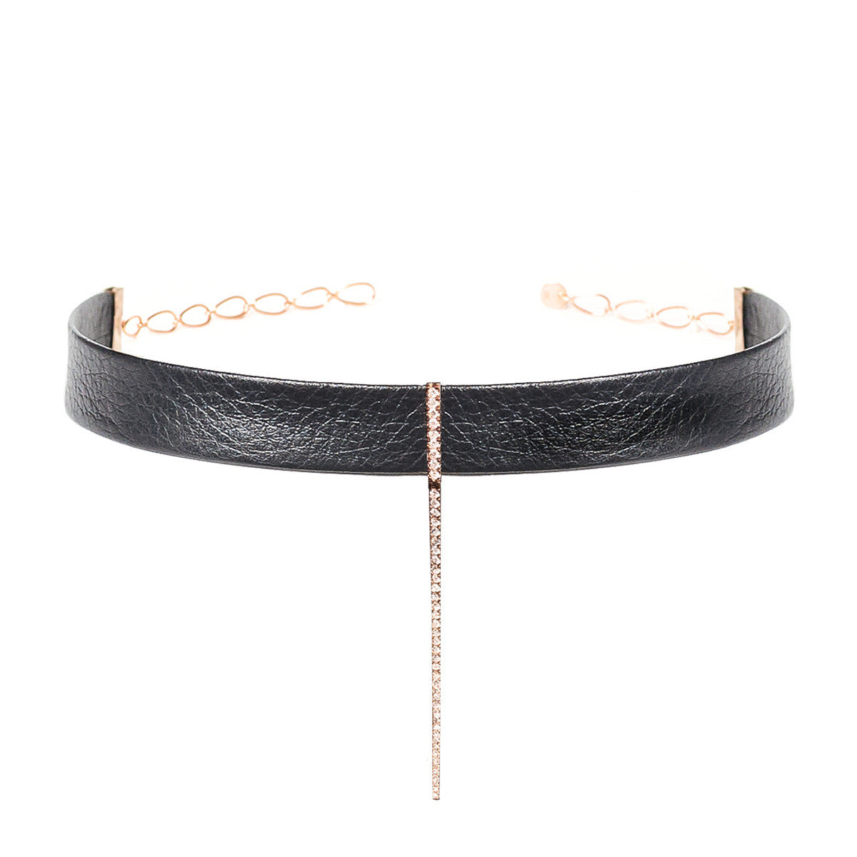 Diane Kordas Jewellery Leather Bar Choker 18kt gold