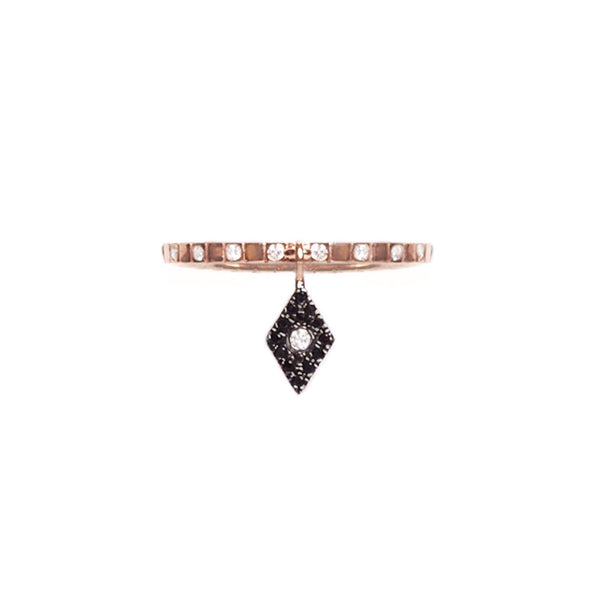 Cosmos Black Diamond Charm Ring