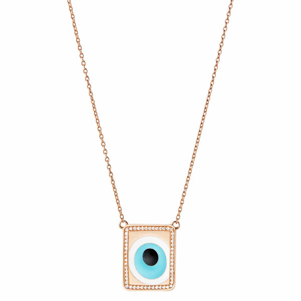 Evil Eye Necklace with Diamond Border