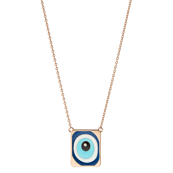 Evil Eye Necklace with Single Diamond