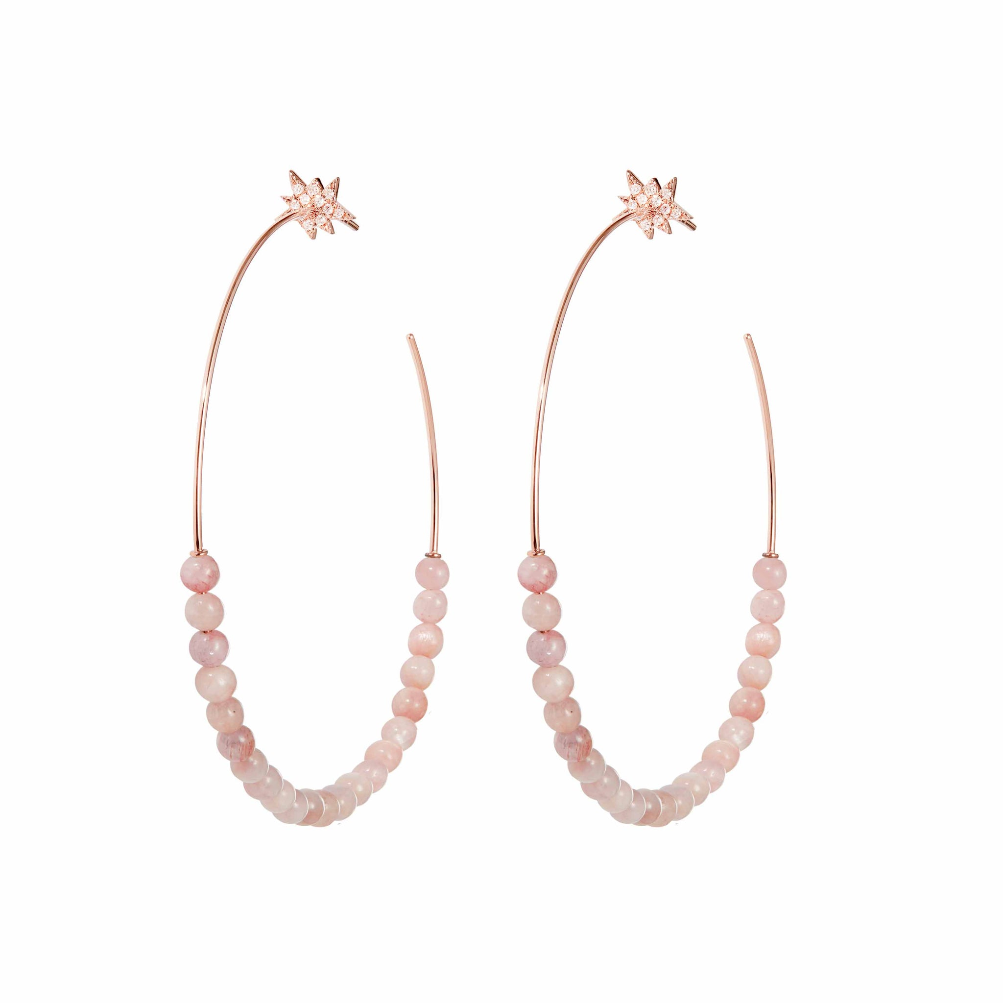 Explosion Kunzite Hoop Earrings