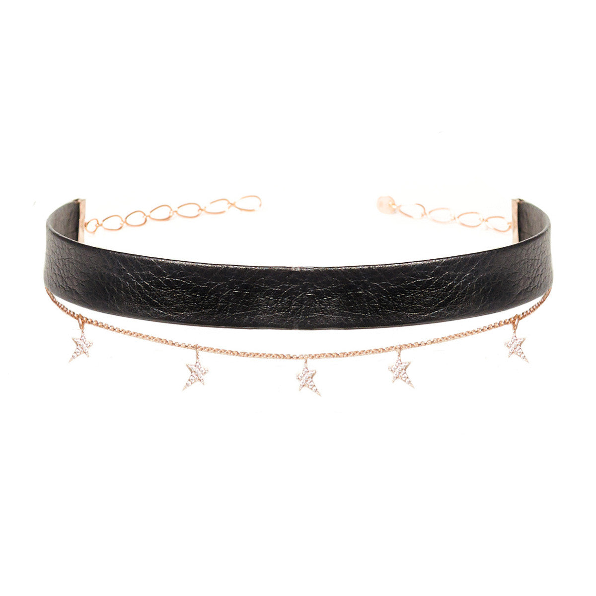 Diane Kordas Jewellery Leather Star Chain Choker 18kt gold