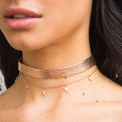 Rose Gold Leather Star Chain Choker