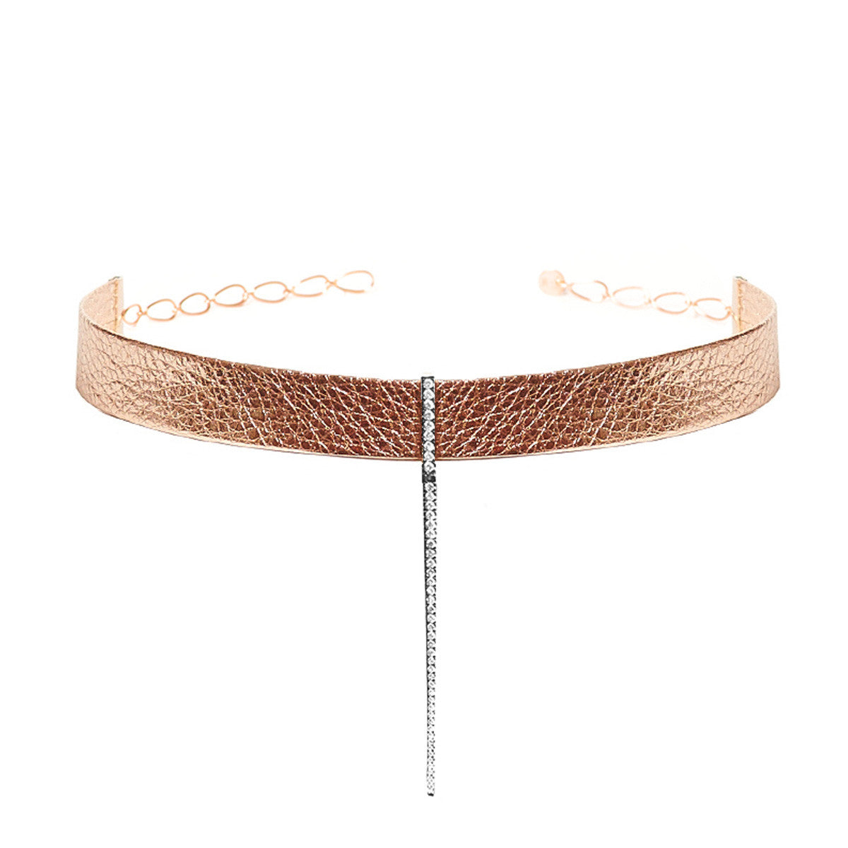 Diane Kordas Jewellery Rose Gold Leather Bar Choker 18kt gold