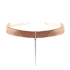 Rose Gold Leather Bar Choker