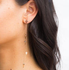 Diane Kordas Asymmetric Shield Chain Earrings