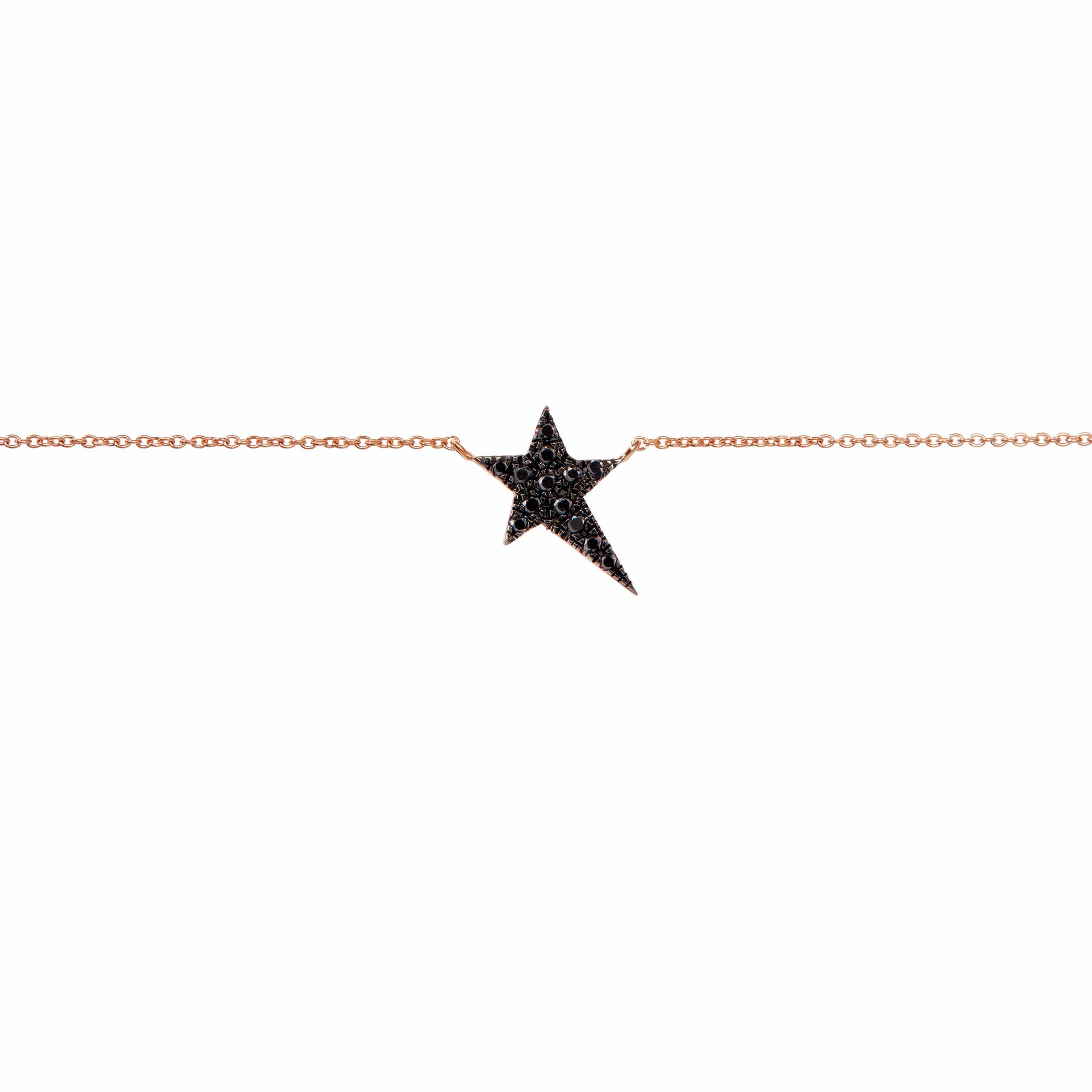 Diane Kordas Star Charm Black Diamond Necklace