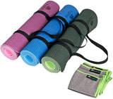 Dual-sided TPE Yoga Mat Set - Green-Black Pink-Purple Blue-Dark Blue