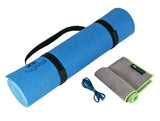 Dual-sided TPE Yoga Mat Set - Blue