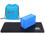 Yoga Knee Pad, Yoga Block and Carry Bag - Blue