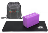 Yoga Knee Pad, Yoga Block and Carry Bag - Purple