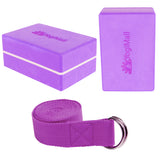 2 Yoga Blocks, Yoga Stretching Strap - Purple